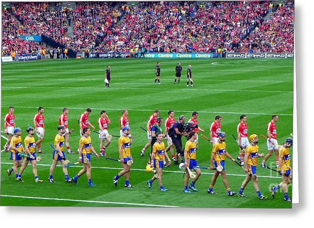 Cork And Clare Hurling Teams At Croke Park Greeting Card by Patrick Dinneen