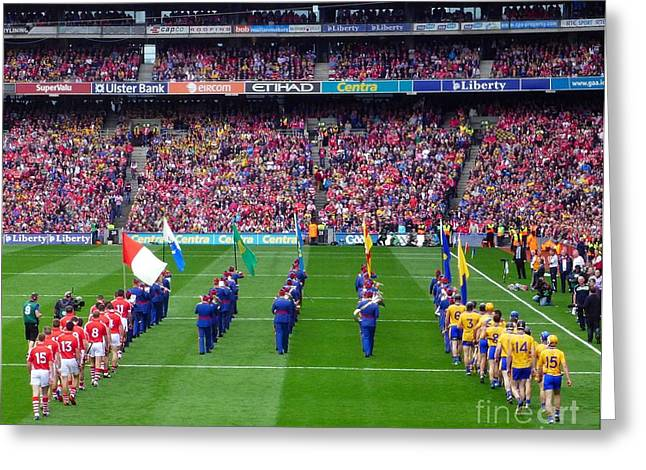 Cork And Clare Hurling Teams Greeting Card by Patrick Dinneen