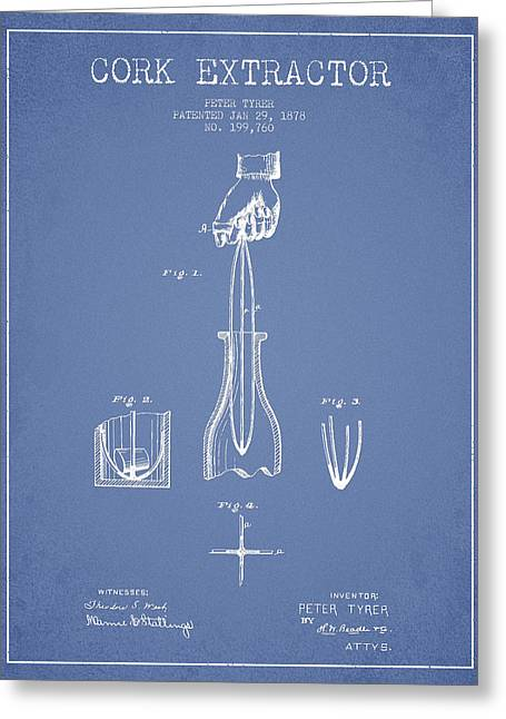 Cork Extractor Patent Drawing From 1878 -light Blue Greeting Card