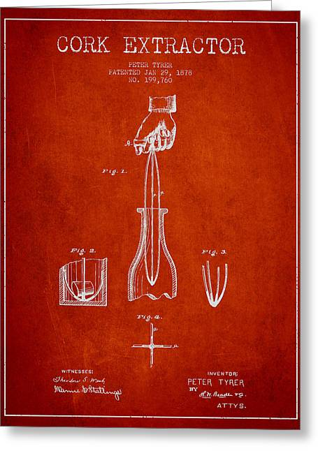 Cork Extractor Patent Drawing From 1878 - Red Greeting Card