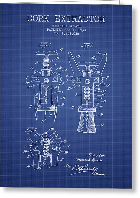 Cork Extractor Patent From 1930- Blueprint Greeting Card