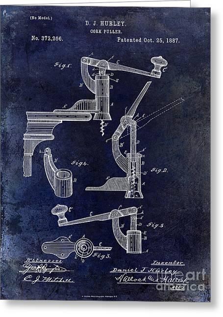 1887 Corkscrew Patent Drawing Greeting Card by Jon Neidert