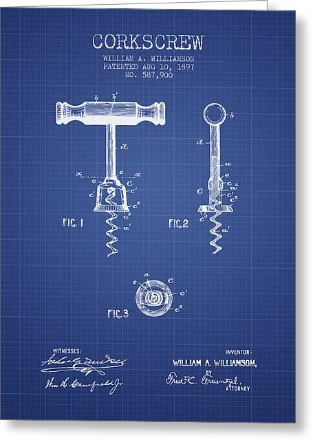 Corkscrew Patent From 1897 Blueprint Greeting Card