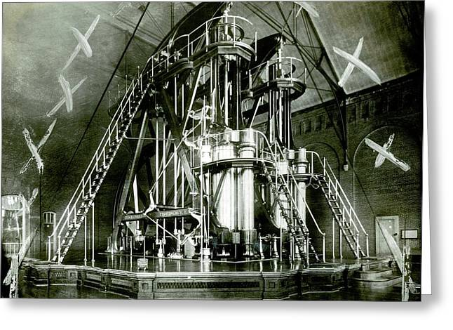 Corliss Exhibition Steam Engine Greeting Card
