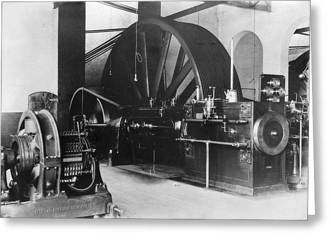 Dynamos Greeting Cards - Corliss steam engine, circa 1900 Greeting Card by Science Photo Library