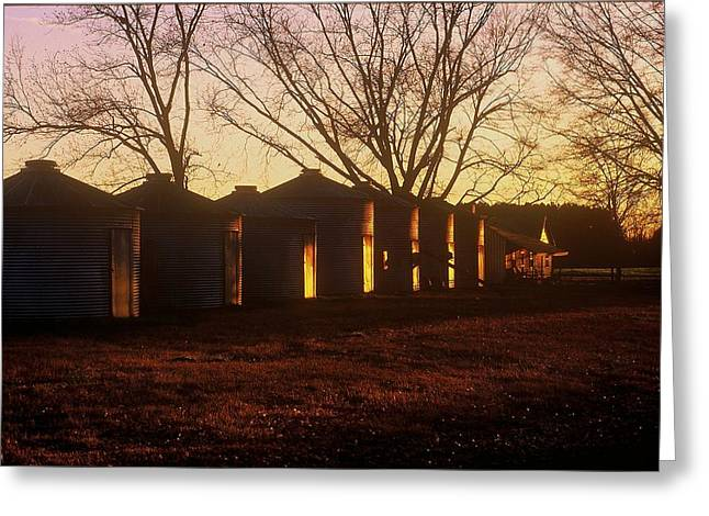 Greeting Card featuring the photograph Corn Cribs At Sunset by Rodney Lee Williams