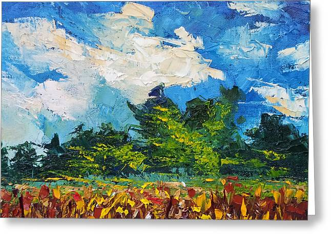 Corn Field Blue Sky Oil Painting Greeting Card