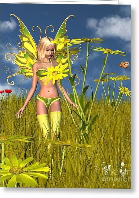 Corn Marigold Fairy Greeting Card