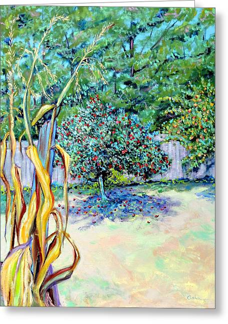 Greeting Card featuring the painting Corn Stalk And Apple Tree  Autumn Lovers by Asha Carolyn Young