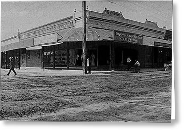 Corner Of Stone And W. Congress Street 180 Degrees Panorama Tucson Arizona C.1905 Greeting Card