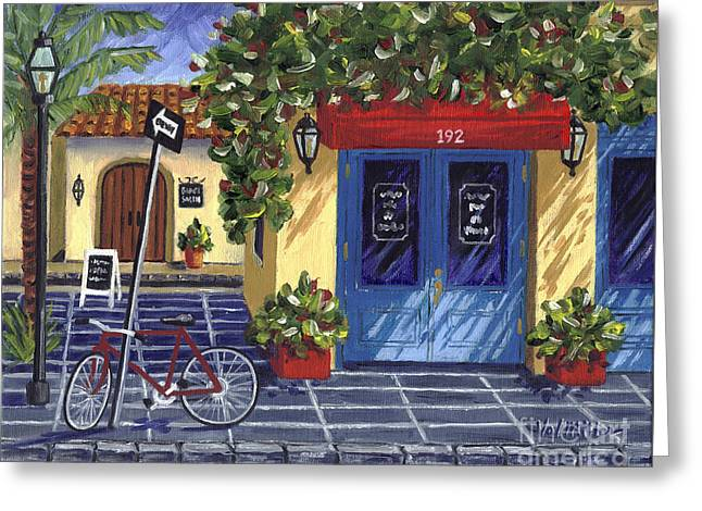 Greeting Card featuring the painting Corner Store by Val Miller