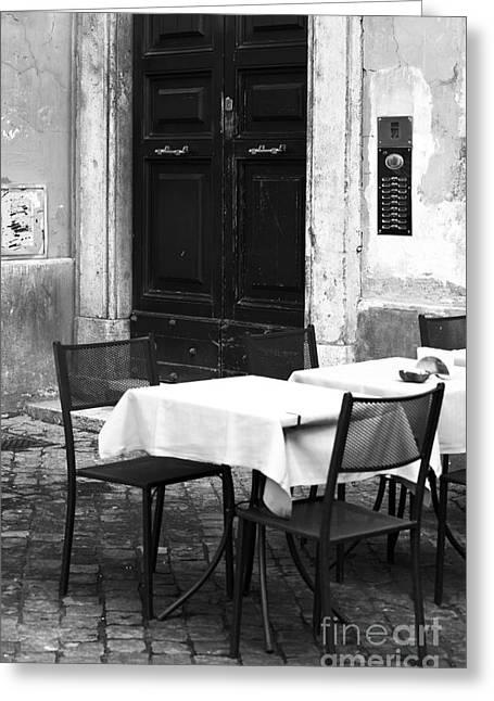 Corner Table Greeting Card by John Rizzuto