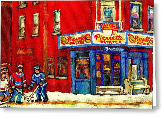 Cornerstore Hockey Game In Verdun Pierrette Patates Restaurant Montreal Verdun Winter Hockey Scenes Greeting Card by Carole Spandau
