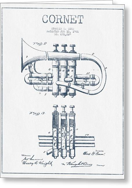 Cornet Patent Drawing From 1901 - Blue Ink Greeting Card