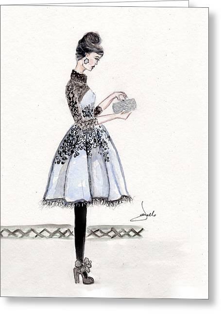 Cornflower Blue Dress Fashion Illustration Greeting Card by Janelle Nichol