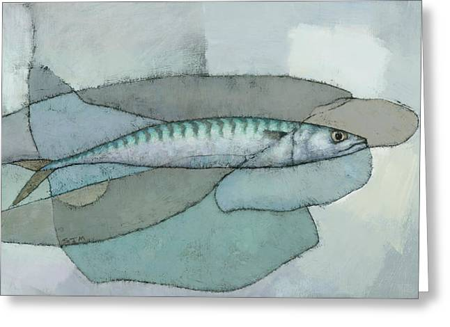Greeting Card featuring the painting Cornish Mackerel by Steve Mitchell