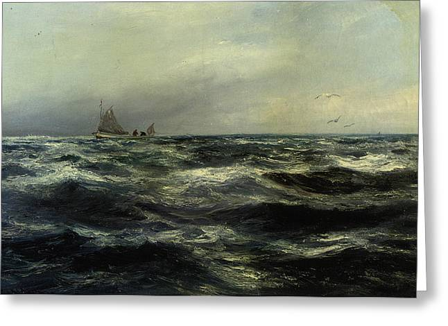 Cornish Sea And Working Boat Greeting Card by Charles William Hemy
