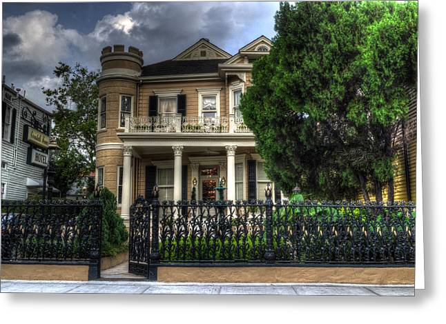 Cornstalk Fence Hotel Greeting Card by Greg and Chrystal Mimbs