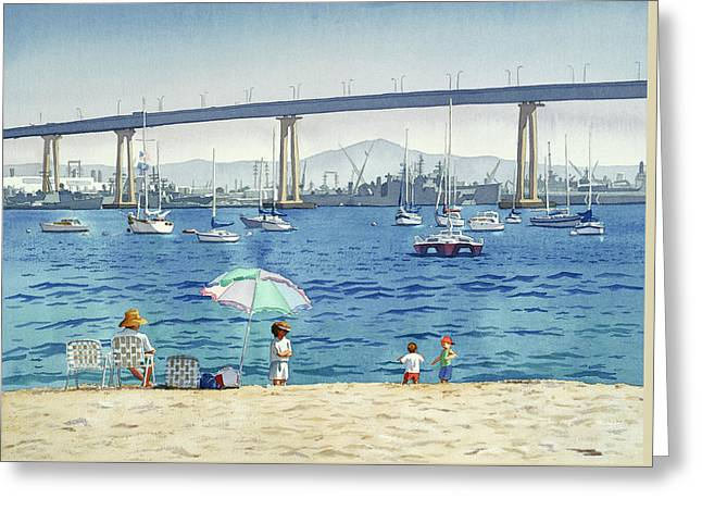 Coronado Beach And Navy Ships Greeting Card