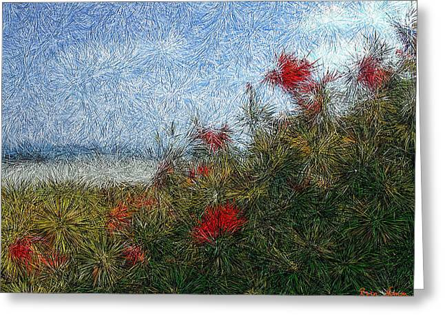 Coronado Beach Flowers Greeting Card