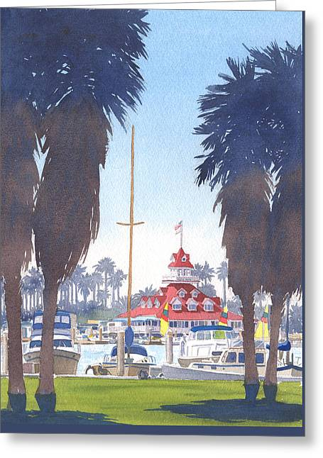 Coronado Boathouse And Palms Greeting Card
