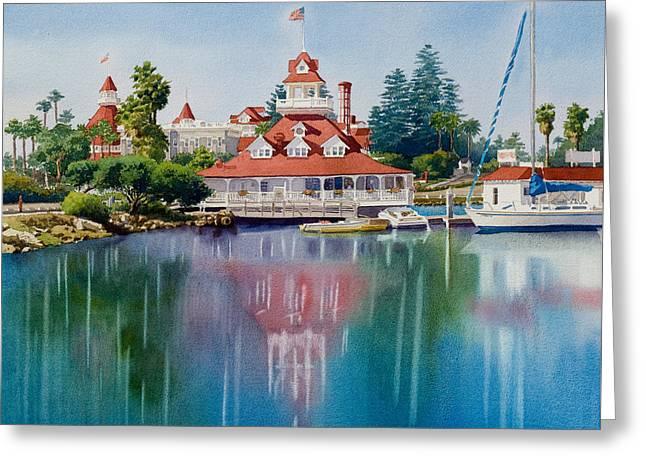 Coronado Boathouse Reflected Greeting Card