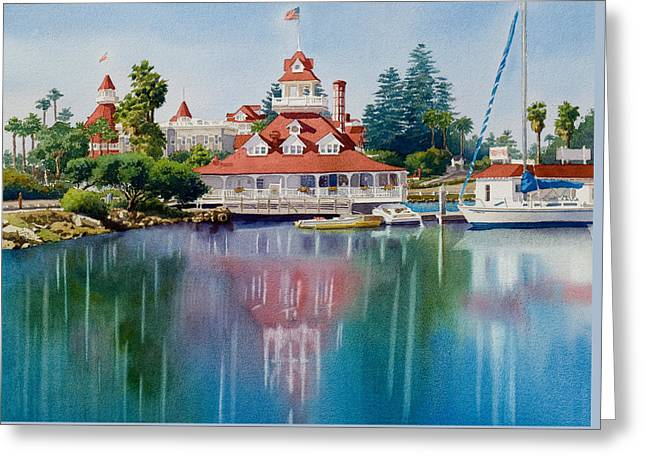 Coronado Boathouse Reflected Greeting Card by Mary Helmreich
