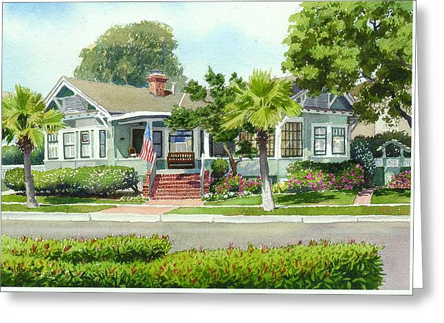 Coronado Craftsman House Greeting Card by Mary Helmreich