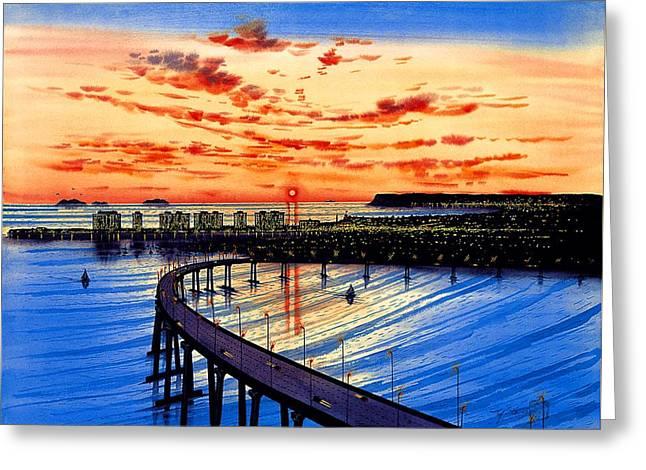 Coronado Panorama Greeting Card by John YATO