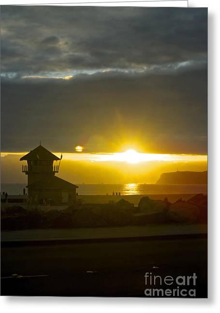 Coronado's Beach At Sunset Greeting Card by Claudia Ellis
