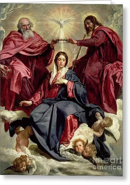 Coronation Of The Virgin Greeting Card by Diego Velazquez
