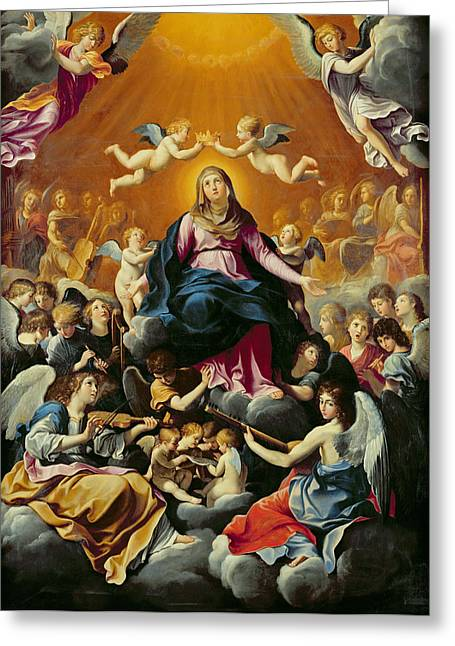 Coronation Of The Virgin Oil On Canvas Greeting Card