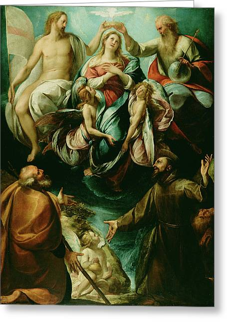 Coronation Of The Virgin With Saints Joseph And Francis Greeting Card by Litz Collection