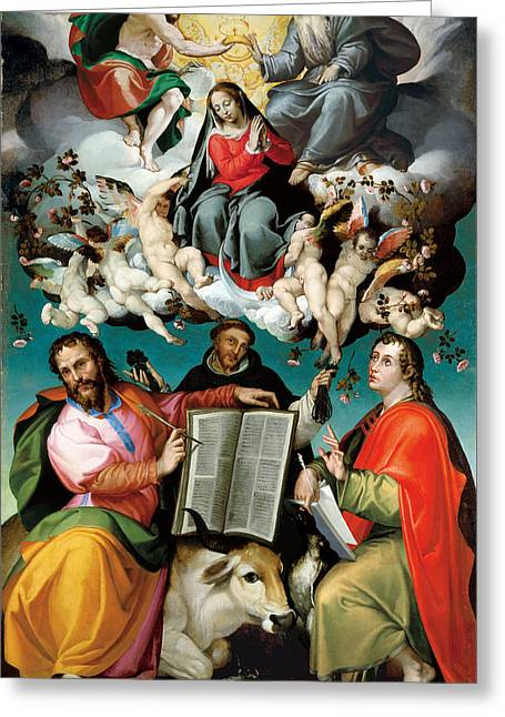 Coronation Of The Virgin With Saints Luke Dominic And John The Evangelist Greeting Card