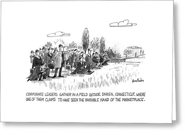 Corporate Leaders Gather In A Field Greeting Card by Dana Fradon