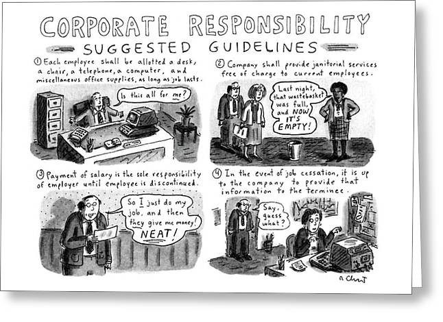 Corporate Responsibility Suggested Guidelines Greeting Card by Roz Chast