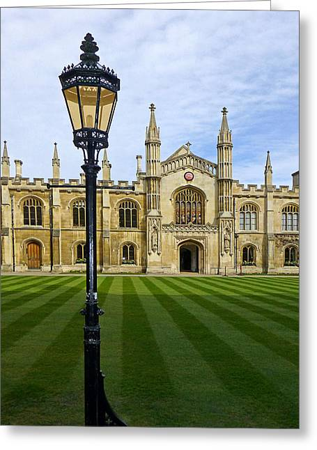 Corpus Christi College Cambridge Greeting Card by Gill Billington