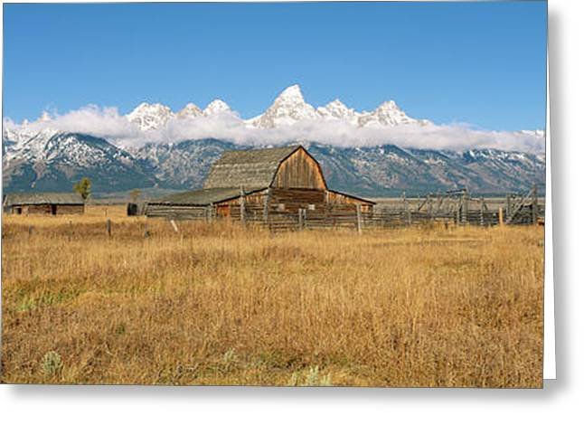 Corral And Old Barn In A Field, Grand Greeting Card by Panoramic Images