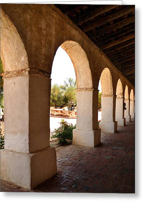 Corridor Arches San Miguel Mission Greeting Card