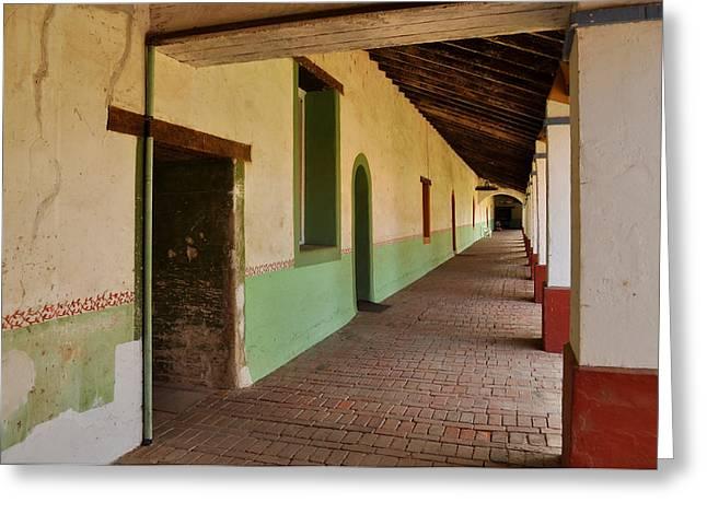 Corridor At San Miguel Arcangel Mission Greeting Card