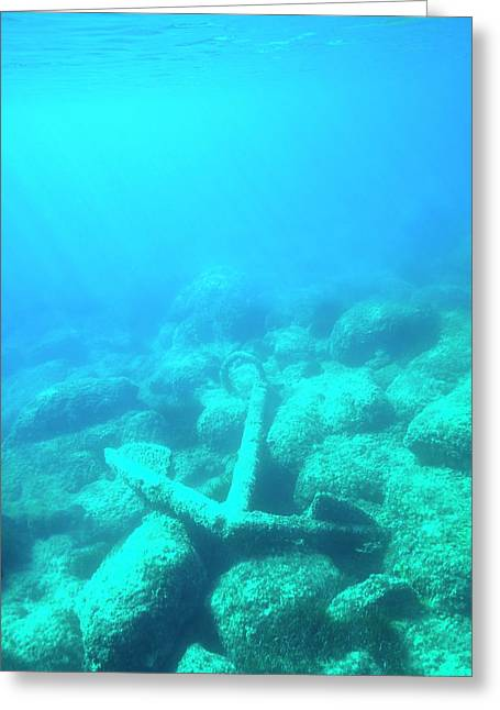 Corroded Fisherman's Anchor Greeting Card by David Parker