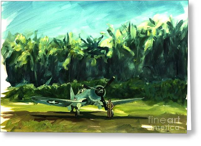Greeting Card featuring the painting Corsair In Jungle by Stephen Roberson