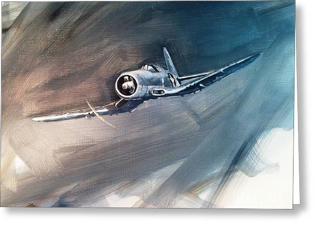 Greeting Card featuring the painting Corsair Sketch 1 by Stephen Roberson