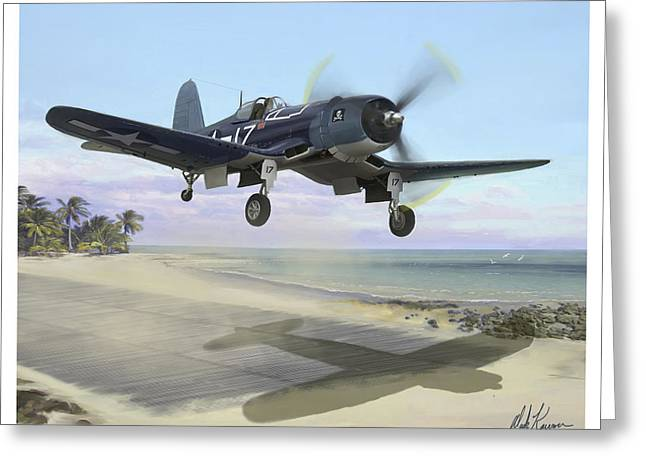 Corsair Takeoff Vf-17 Jolly Rogers Greeting Card by Mark Karvon
