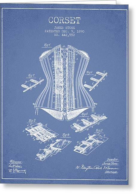Corset Patent From 1890 - Light Blue Greeting Card by Aged Pixel
