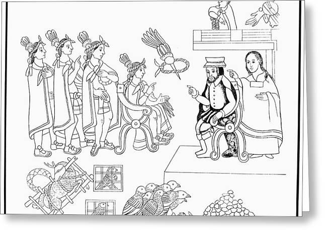 Cortes & Montezuma, 1519 Greeting Card