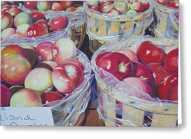 Greeting Card featuring the mixed media Cortland Apples by Constance Drescher