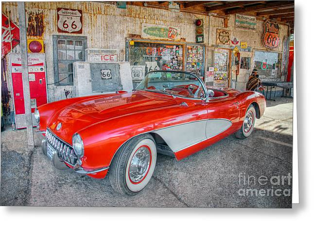 Corvette At Hackberry General Store Greeting Card
