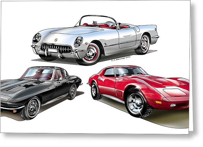 Greeting Card featuring the digital art Corvette Generation by Thomas J Herring