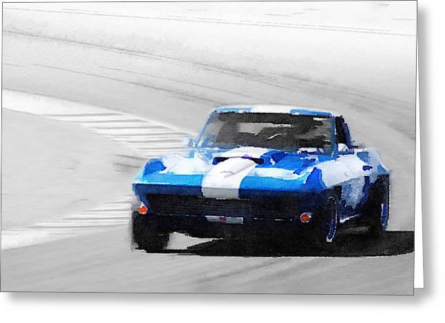 Corvette Stingray Laguna Seca Watercolor Greeting Card